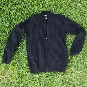 Peter Millar Black Full Zip Cardigan Sweater